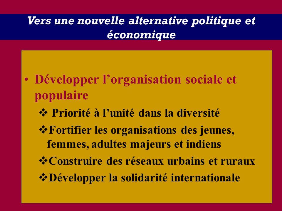 Vers une nouvelle alternative politique et économique Développer lorganisation sociale et populaire Priorité à lunité dans la diversité Fortifier les