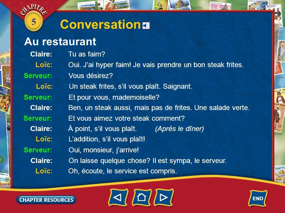 5 Conversation Au restaurant