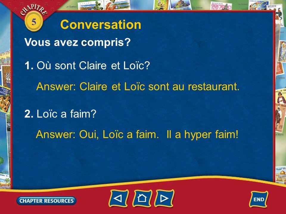 5 Conversation Claire: Tu as faim? Loïc: Oui. Jai hyper faim! Je vais prendre un bon steak frites. Au restaurant Serveur: Vous désirez? Loïc: Un steak