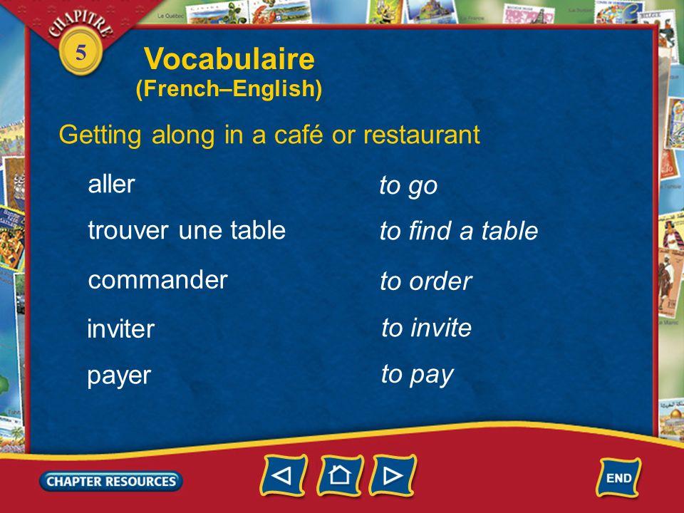 5 a waiter, waitress Getting along in a café or restaurant un serveur, une serveuse la carte laddition (f.) largent (m.) the menu the check, bill mone