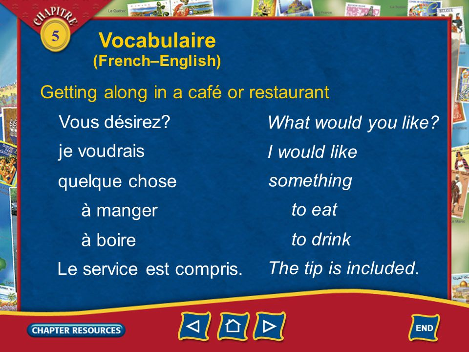 5 to leave Getting along in a café or restaurant laisser prendre déjeuner dîner to take to eat lunch to eat dinner avoir faim to be hungry to be thirsty avoir soif Vocabulaire (French–English)
