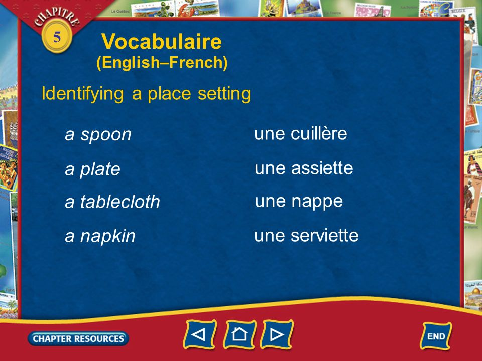 5 Identifying a place setting the table setting le couvert une tasse un couteau un verre une fourchette a glass a cup a fork a knife Vocabulaire (English–French)
