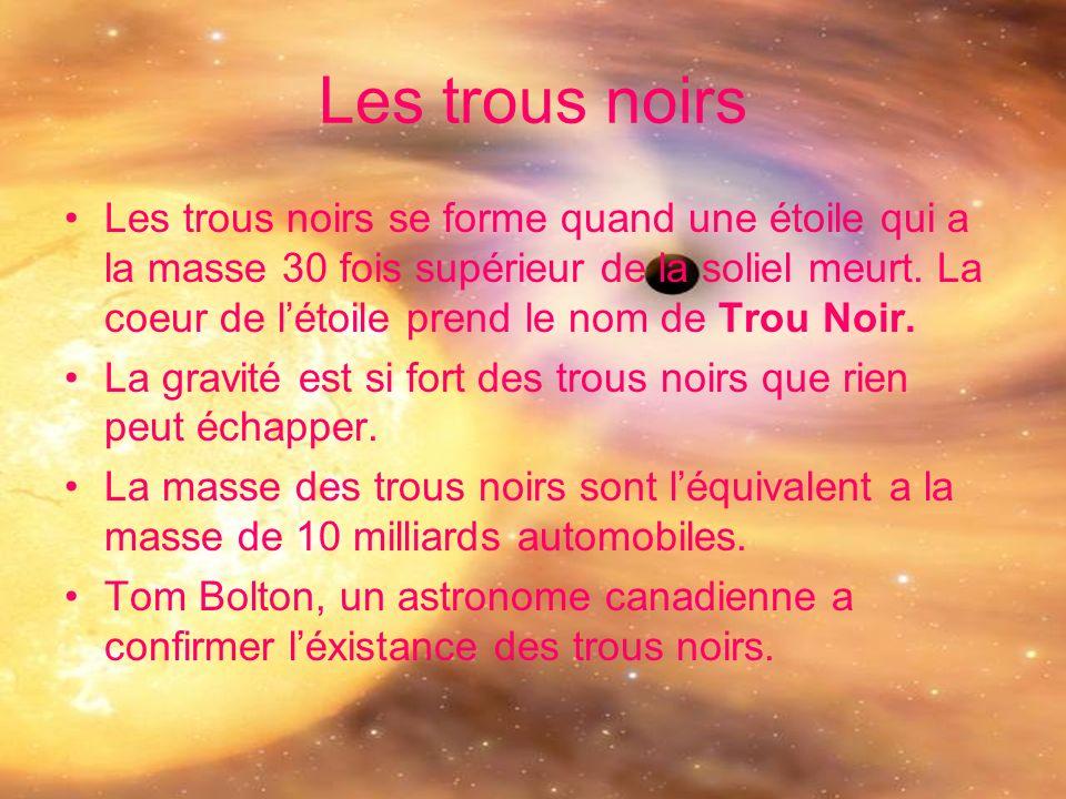 Les trous noirs Les trous noirs se forme quand une étoile qui a la masse 30 fois supérieur de la soliel meurt. La coeur de létoile prend le nom de Tro
