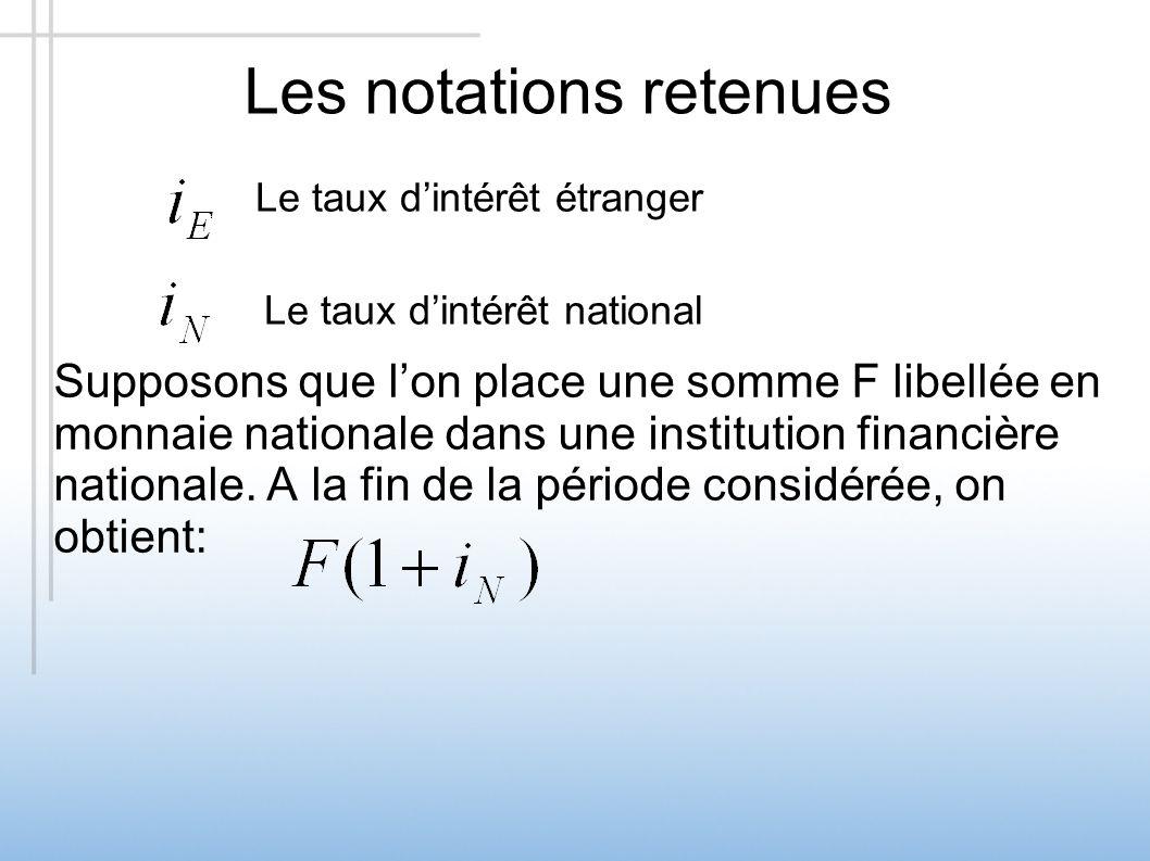 Les notations retenues Supposons que lon place une somme F libellée en monnaie nationale dans une institution financière nationale. A la fin de la pér