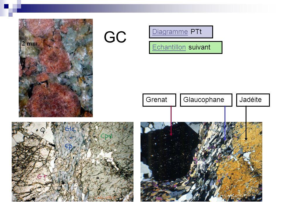 GC Glaucophane GrenatJadéite Diagramme PTt EchantillonEchantillon suivant