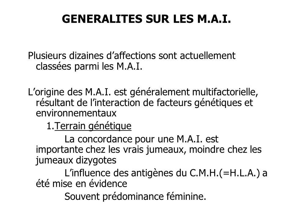 GENERALITES SUR LES M.A.I. Plusieurs dizaines daffections sont actuellement classées parmi les M.A.I. Lorigine des M.A.I. est généralement multifactor