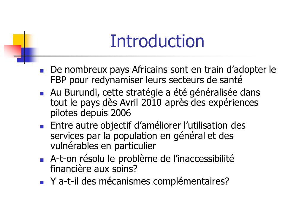 Introduction De nombreux pays Africains sont en train dadopter le FBP pour redynamiser leurs secteurs de santé Au Burundi, cette stratégie a été génér