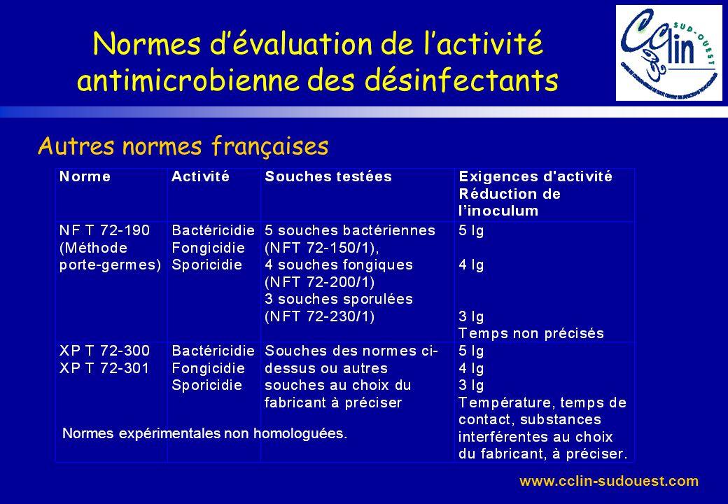 www.cclin-sudouest.com Normes expérimentales non homologuées. Normes dévaluation de lactivité antimicrobienne des désinfectants Autres normes français
