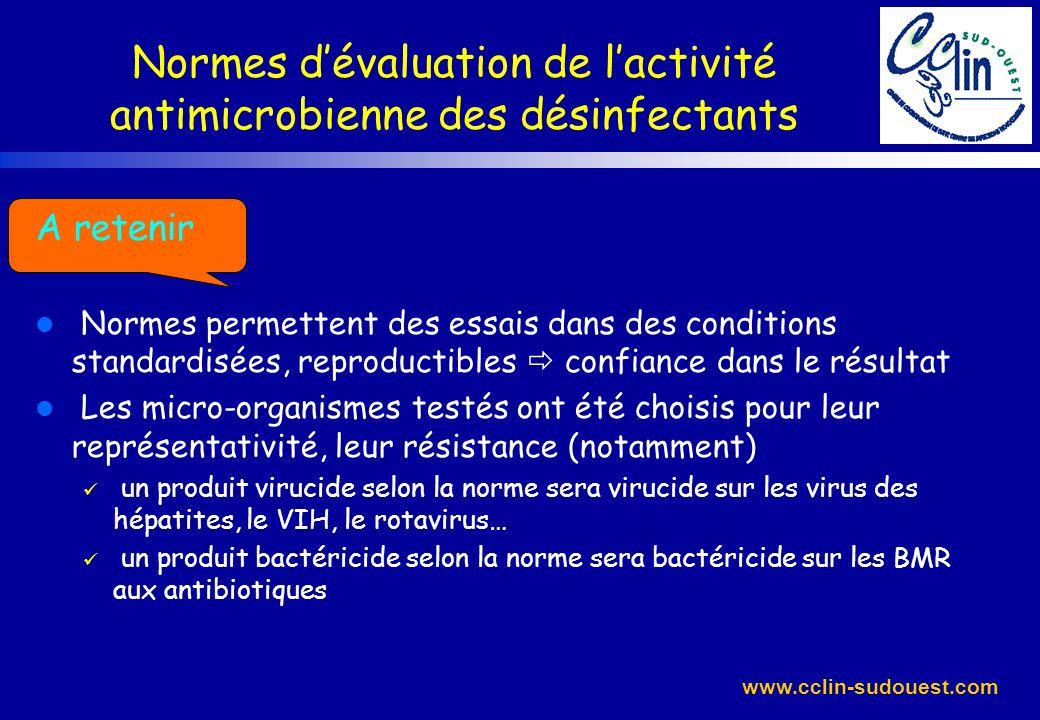 www.cclin-sudouest.com Normes dévaluation de lactivité antimicrobienne des désinfectants A retenir l Normes permettent des essais dans des conditions