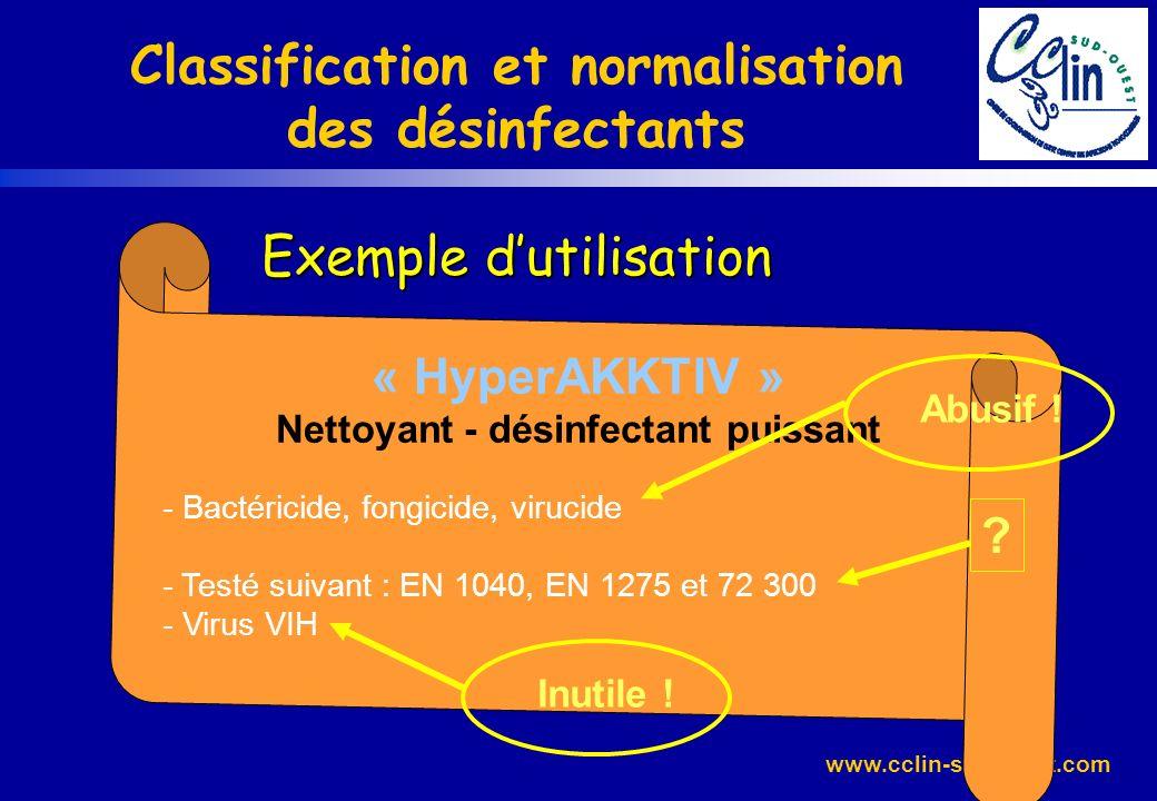 www.cclin-sudouest.com Exemple dutilisation Classification et normalisation des désinfectants Exemple dutilisation « HyperAKKTIV » Nettoyant - désinfe