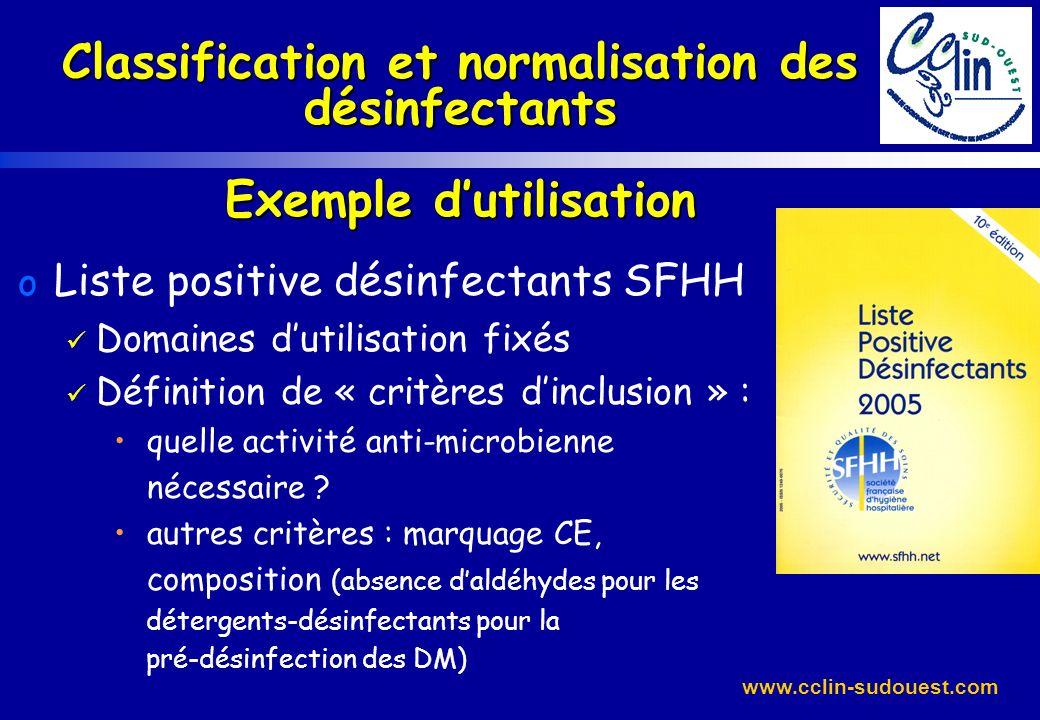 www.cclin-sudouest.com Classification et normalisation des désinfectants Exemple dutilisation o Liste positive désinfectants SFHH Domaines dutilisatio