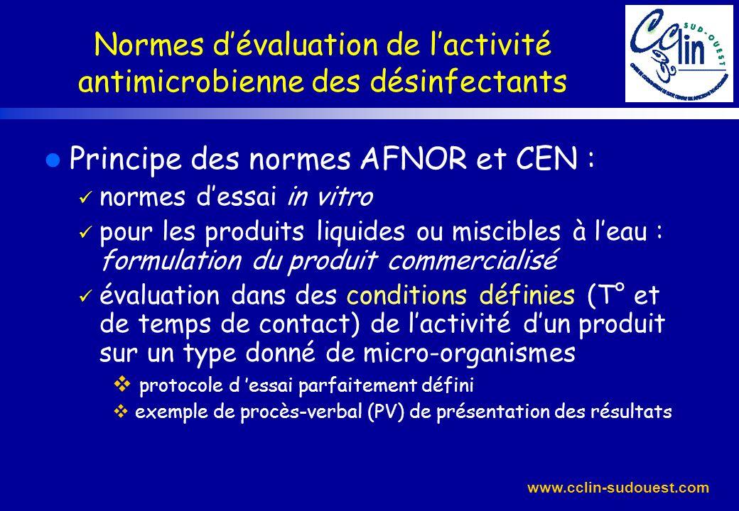 www.cclin-sudouest.com Normes dévaluation de lactivité antimicrobienne des désinfectants l Principe des normes AFNOR et CEN : normes dessai in vitro p