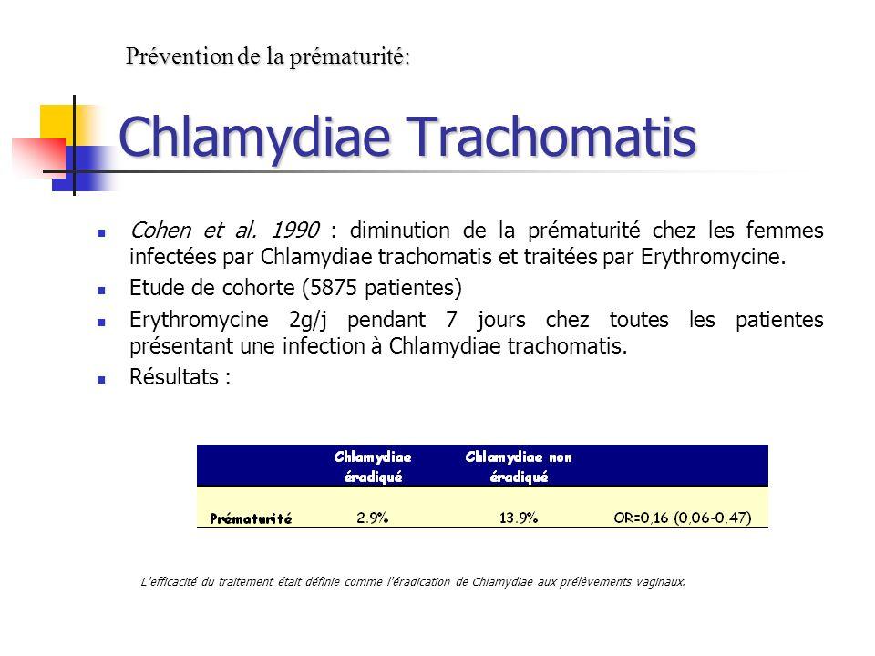 Cohen et al. 1990 : diminution de la prématurité chez les femmes infectées par Chlamydiae trachomatis et traitées par Erythromycine. Etude de cohorte