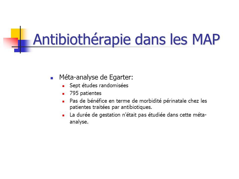 Méta-analyse de Egarter: Sept études randomisées 795 patientes Pas de bénéfice en terme de morbidité périnatale chez les patientes traitées par antibi