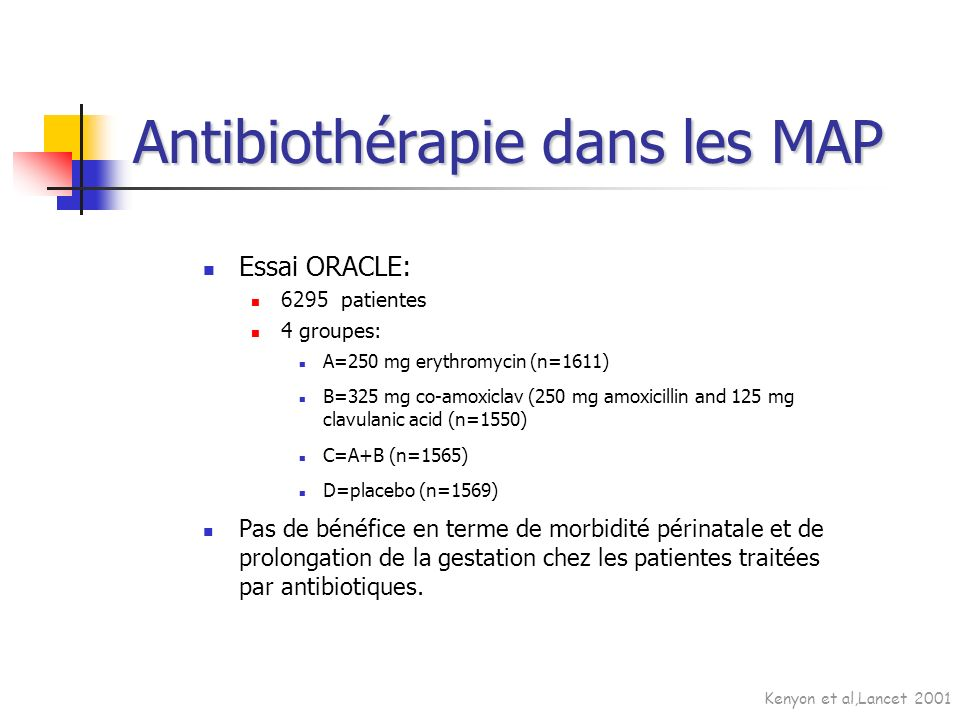 Essai ORACLE: 6295 patientes 4 groupes: A=250 mg erythromycin (n=1611) B=325 mg co-amoxiclav (250 mg amoxicillin and 125 mg clavulanic acid (n=1550) C