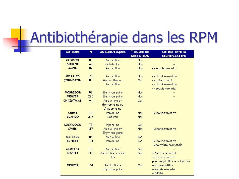 Antibiothérapie dans les RPM