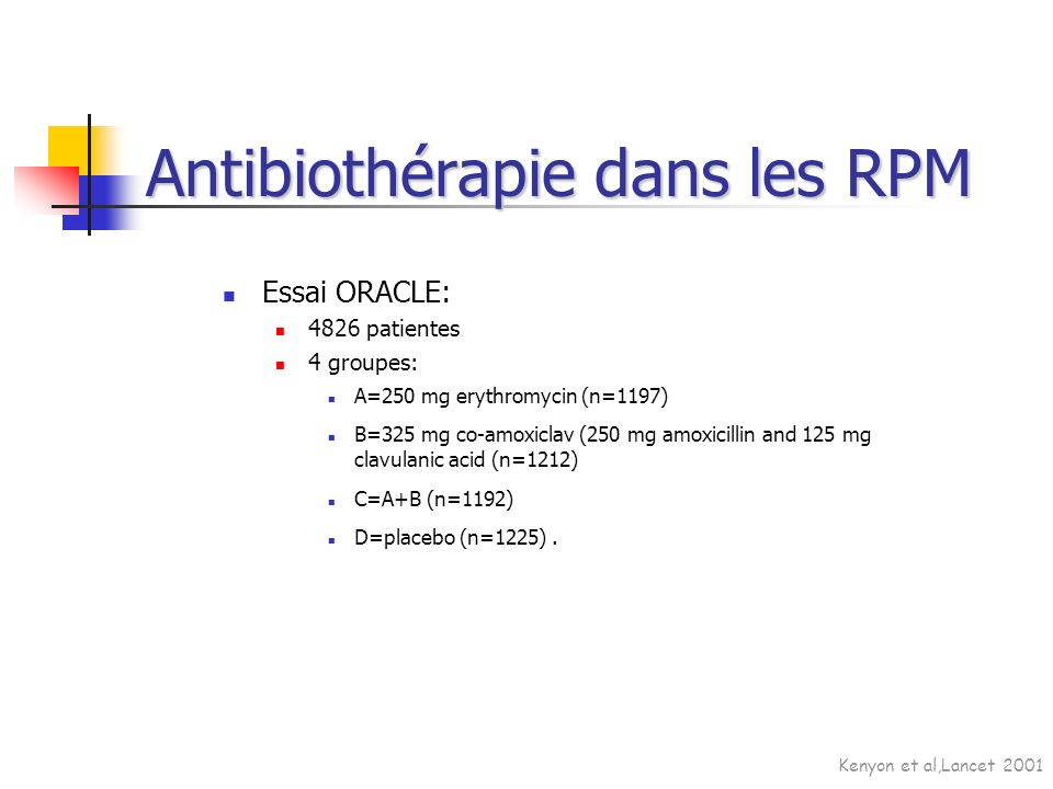Essai ORACLE: 4826 patientes 4 groupes: A=250 mg erythromycin (n=1197) B=325 mg co-amoxiclav (250 mg amoxicillin and 125 mg clavulanic acid (n=1212) C