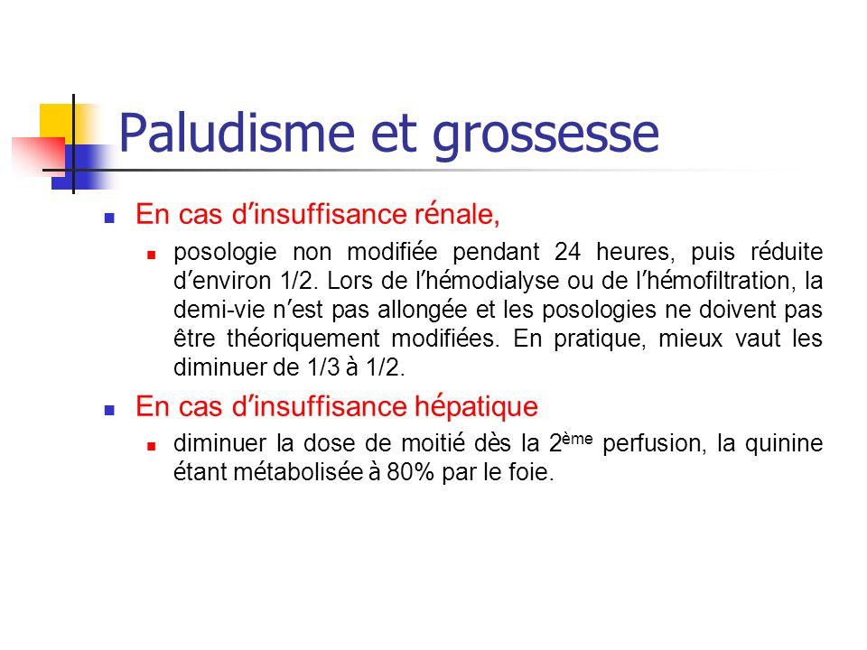 Paludisme et grossesse En cas d insuffisance r é nale, posologie non modifi é e pendant 24 heures, puis r é duite d environ 1/2. Lors de l h é modialy