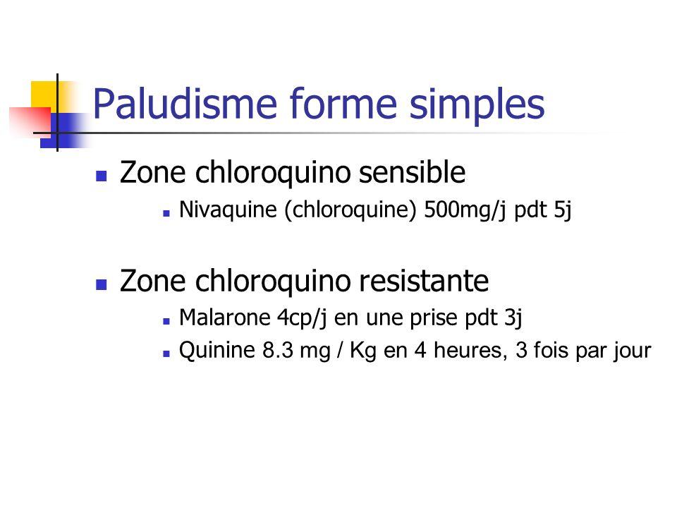 Paludisme forme simples Zone chloroquino sensible Nivaquine (chloroquine) 500mg/j pdt 5j Zone chloroquino resistante Malarone 4cp/j en une prise pdt 3