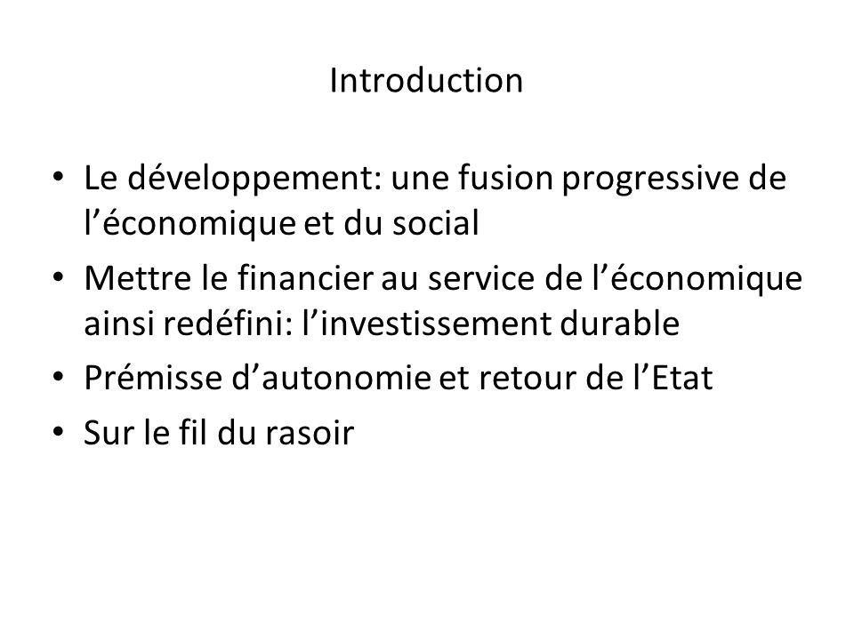 Introduction Le développement: une fusion progressive de léconomique et du social Mettre le financier au service de léconomique ainsi redéfini: linves