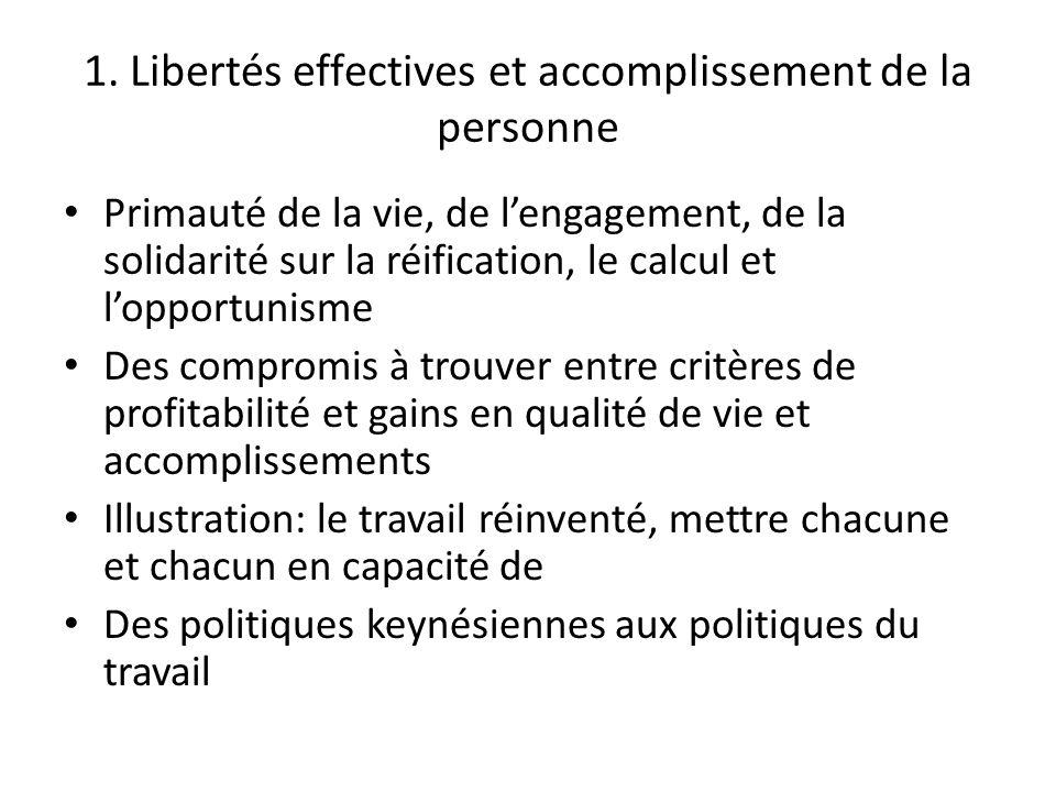 1. Libertés effectives et accomplissement de la personne Primauté de la vie, de lengagement, de la solidarité sur la réification, le calcul et lopport