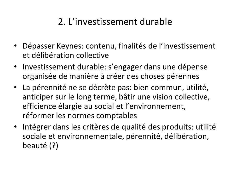 2. Linvestissement durable Dépasser Keynes: contenu, finalités de linvestissement et délibération collective Investissement durable: sengager dans une
