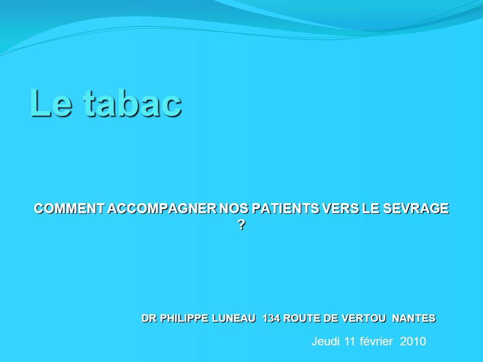 Le tabac COMMENT ACCOMPAGNER NOS PATIENTS VERS LE SEVRAGE ? DR PHILIPPE LUNEAU 134 ROUTE DE VERTOU NANTES Jeudi 11 février 2010