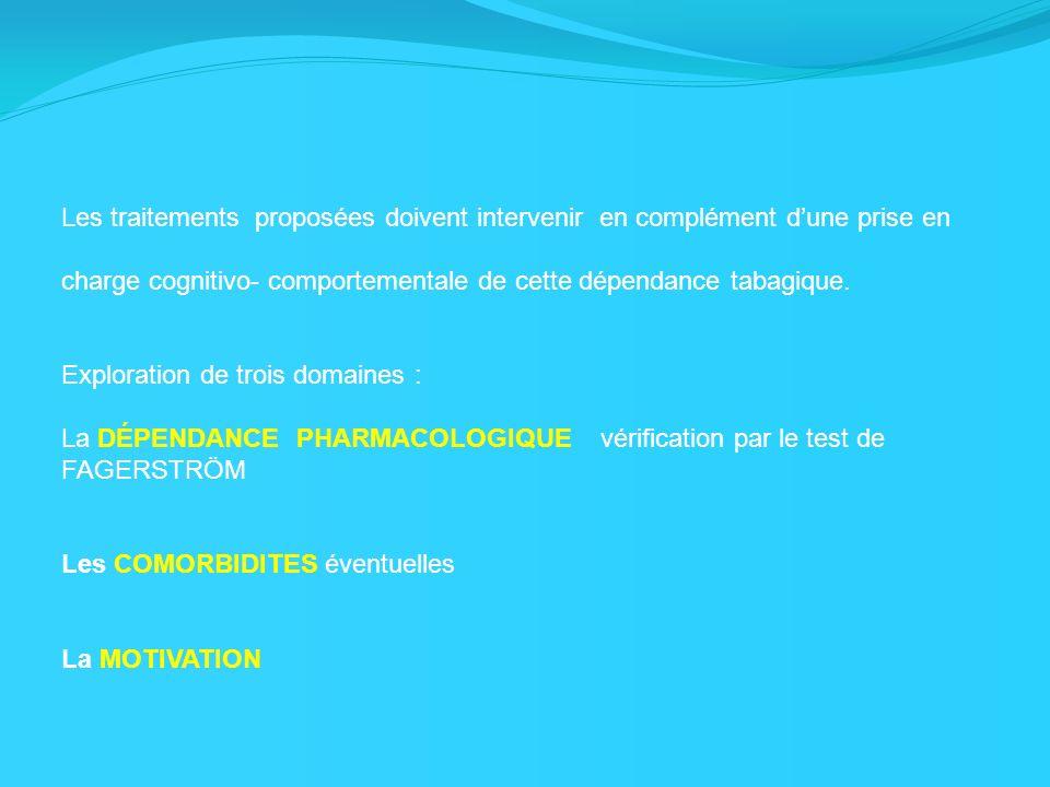 Les traitements proposées doivent intervenir en complément dune prise en charge cognitivo- comportementale de cette dépendance tabagique. Exploration