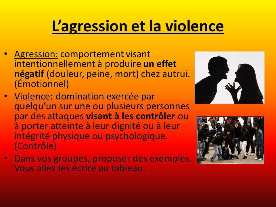 Lagression et la violence Agression: comportement visant intentionnellement à produire un effet négatif (douleur, peine, mort) chez autrui. (Émotionne