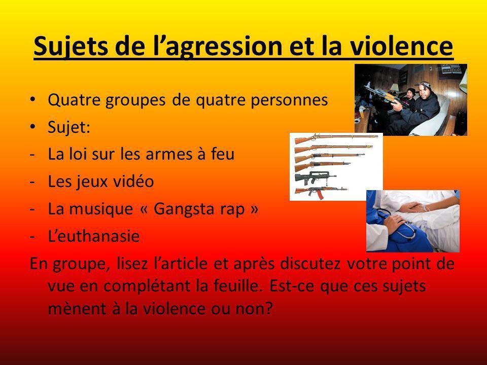 Sujets de lagression et la violence Quatre groupes de quatre personnes Sujet: -La loi sur les armes à feu -Les jeux vidéo -La musique « Gangsta rap »