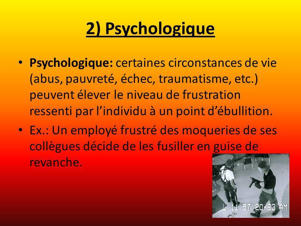 2) Psychologique Psychologique: certaines circonstances de vie (abus, pauvreté, échec, traumatisme, etc.) peuvent élever le niveau de frustration ress