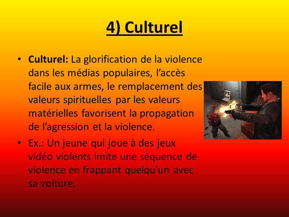 4) Culturel Culturel: La glorification de la violence dans les médias populaires, laccès facile aux armes, le remplacement des valeurs spirituelles pa
