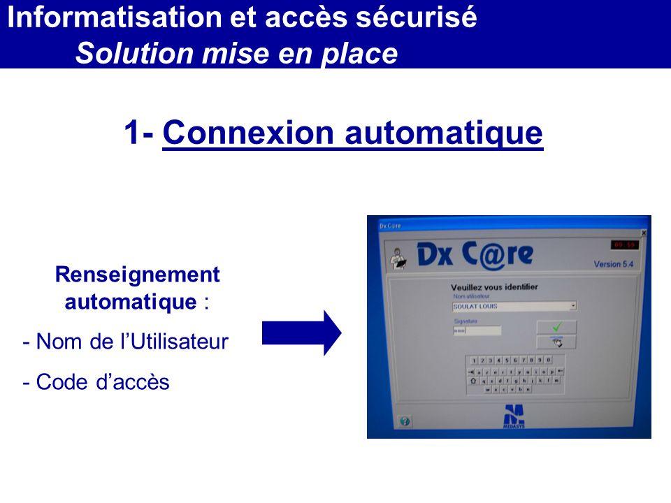 MEDEC - Congrès 2006 : Forum de lInformatique et des N.T.I.C Santé, le vendredi 17 Mars 1- Connexion automatique Renseignement automatique : - Nom de