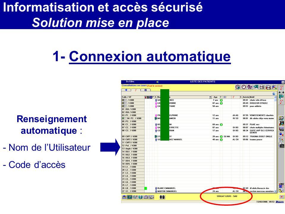 MEDEC - Congrès 2006 : Forum de lInformatique et des N.T.I.C Santé, le vendredi 17 Mars Renseignement automatique : - Nom de lUtilisateur - Code daccè