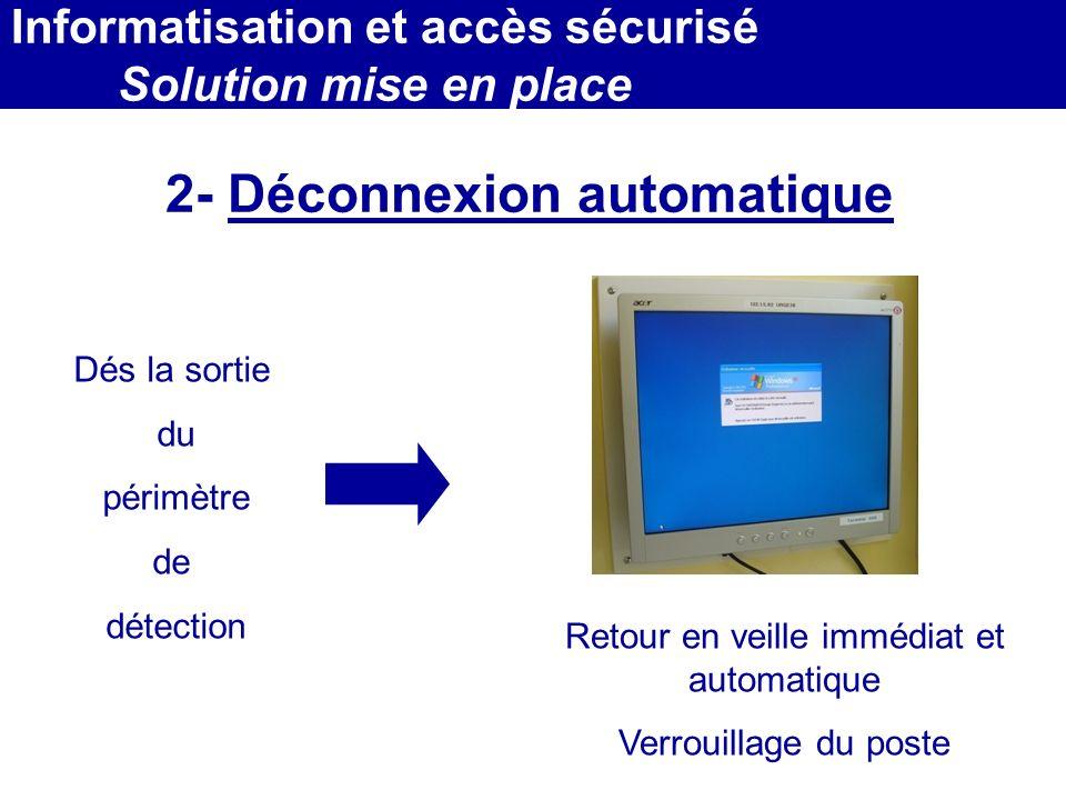 MEDEC - Congrès 2006 : Forum de lInformatique et des N.T.I.C Santé, le vendredi 17 Mars 2- Déconnexion automatique Dés la sortie du périmètre de détec
