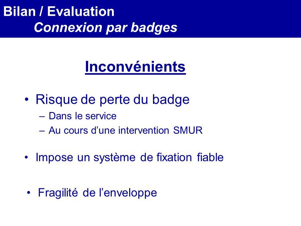 MEDEC - Congrès 2006 : Forum de lInformatique et des N.T.I.C Santé, le vendredi 17 Mars Inconvénients Risque de perte du badge –Dans le service –Au co
