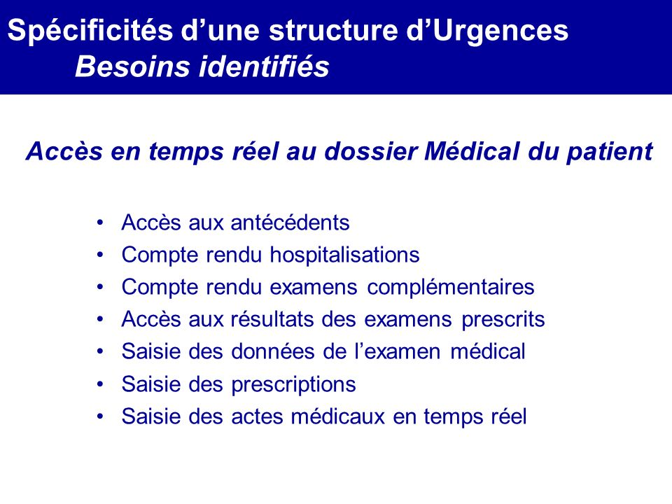 MEDEC - Congrès 2006 : Forum de lInformatique et des N.T.I.C Santé, le vendredi 17 Mars Accès aux antécédents Compte rendu hospitalisations Compte ren