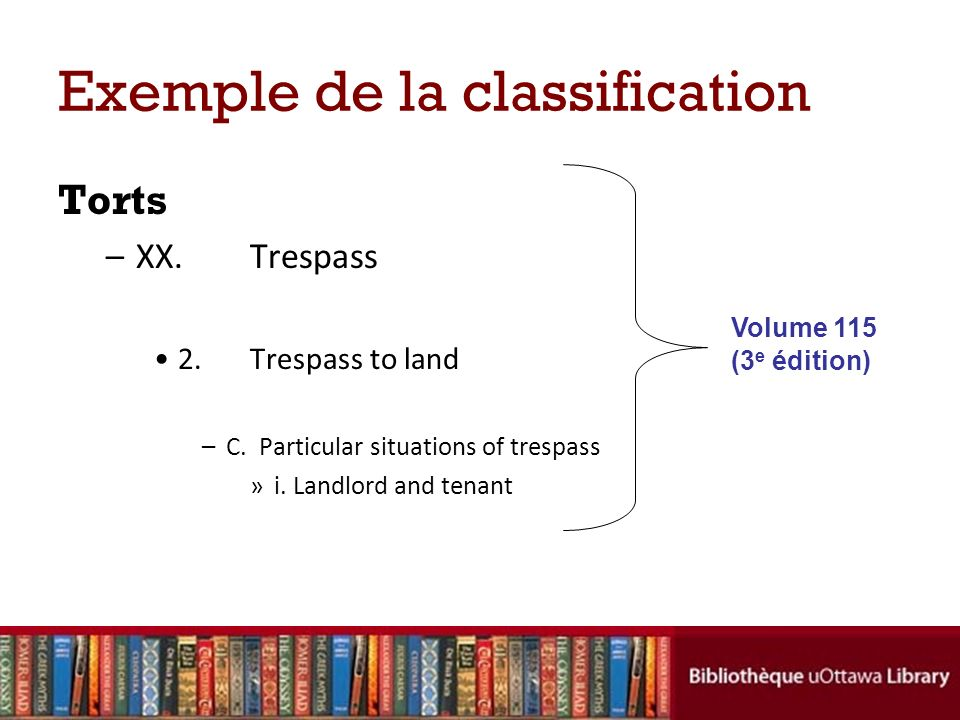 Exemple de la classification Torts –XX.Trespass 2.Trespass to land –C. Particular situations of trespass »i. Landlord and tenant Volume 115 (3 e éditi