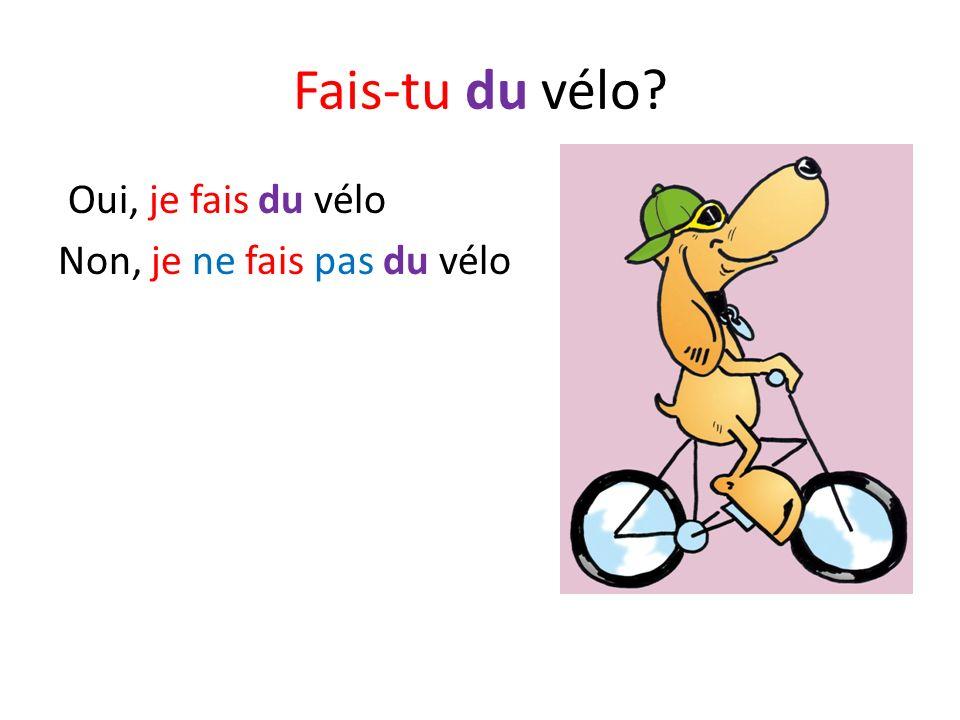Fais-tu du vélo? Oui, je fais du vélo Non, je ne fais pas du vélo