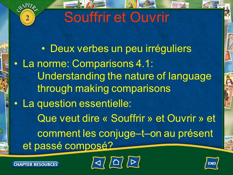 2 Souffrir et Ouvrir Deux verbes un peu irréguliers La norme: Comparisons 4.1: Understanding the nature of language through making comparisons La ques