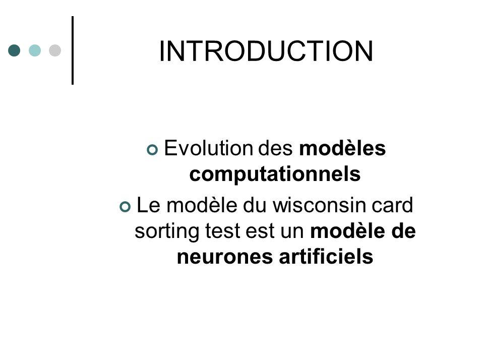 INTRODUCTION Evolution des modèles computationnels Le modèle du wisconsin card sorting test est un modèle de neurones artificiels