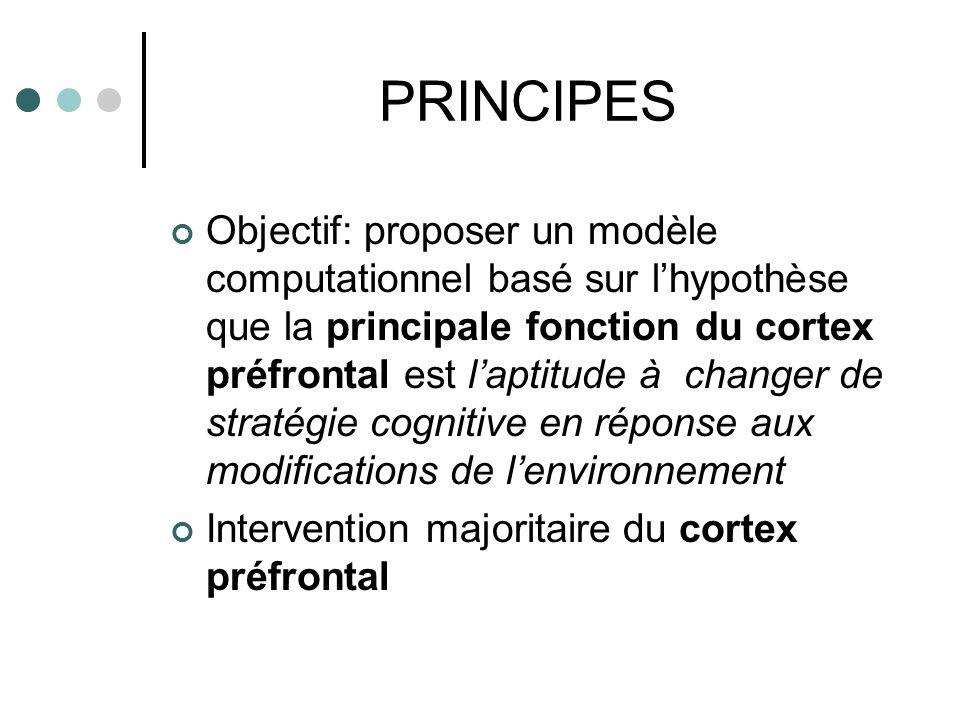 PRINCIPES Objectif: proposer un modèle computationnel basé sur lhypothèse que la principale fonction du cortex préfrontal est laptitude à changer de s