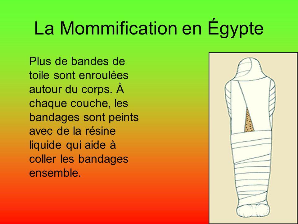 La Mommification en Égypte Plus de bandes de toile sont enroulées autour du corps. À chaque couche, les bandages sont peints avec de la résine liquide