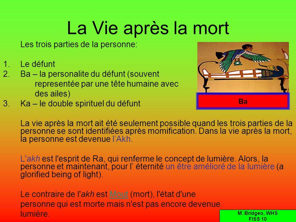 La Vie après la mort Les trois parties de la personne: 1.Le défunt 2.Ba – la personalite du défunt (souvent representée par une tête humaine avec des