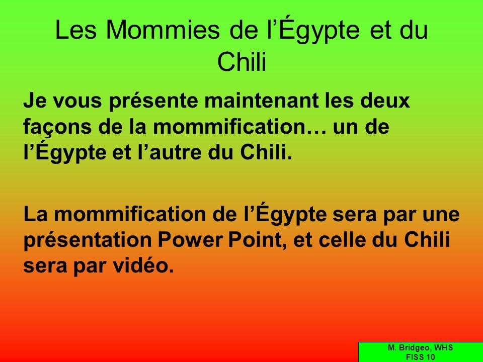Les Mommies de lÉgypte et du Chili Je vous présente maintenant les deux façons de la mommification… un de lÉgypte et lautre du Chili. La mommification