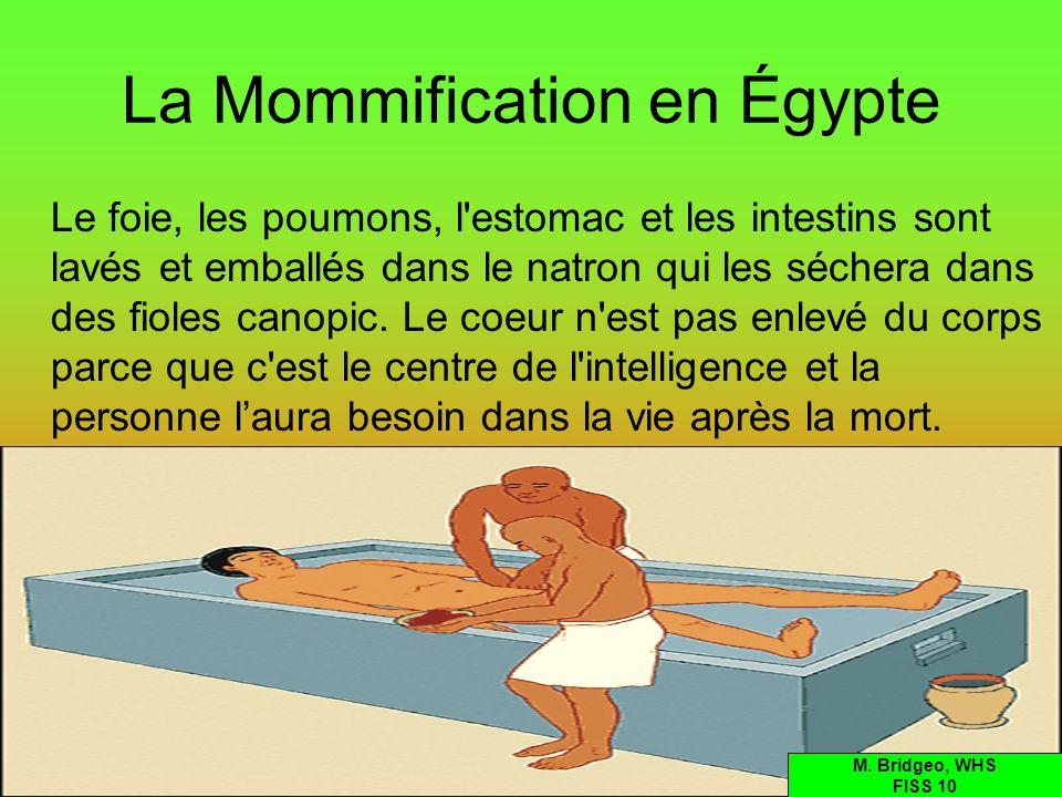 La Mommification en Égypte Le foie, les poumons, l'estomac et les intestins sont lavés et emballés dans le natron qui les séchera dans des fioles cano