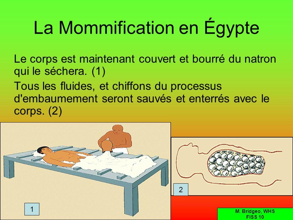 La Mommification en Égypte En conclusion, un grand tissu est enroulé autour de la momie entière.