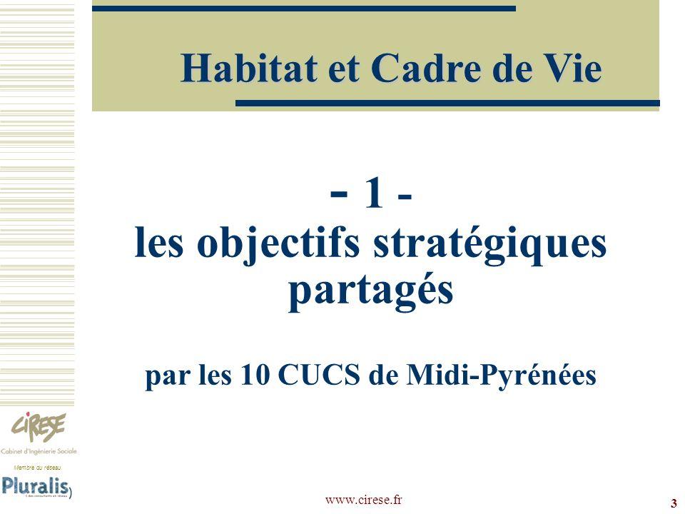 www.cirese.fr 24 CUCS de Toulouse Prioriser lintervention sur lhabitat dans les zones CUCS (hors ANRU).