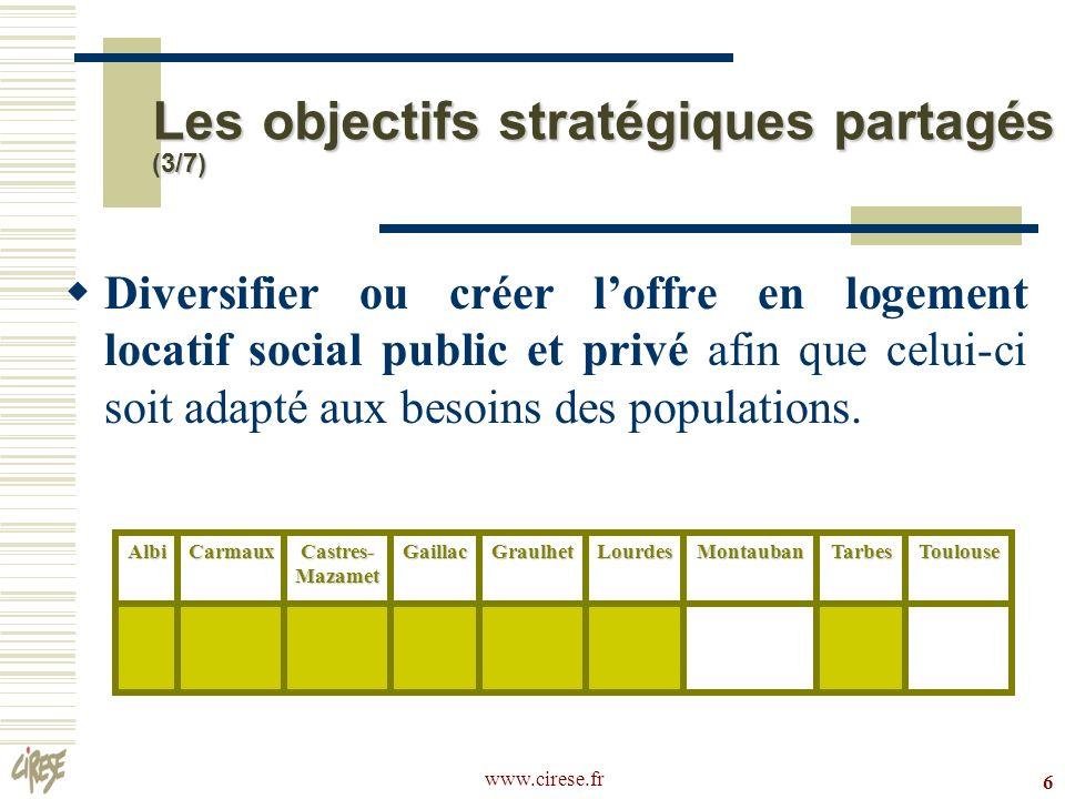 www.cirese.fr7 Responsabiliser et impliquer les habitants dans lamélioration de leur cadre de vie.AlbiCarmaux Castres- Mazamet GaillacGraulhetLourdesMontaubanTarbesToulouse Les objectifs stratégiques partagés (4/7)
