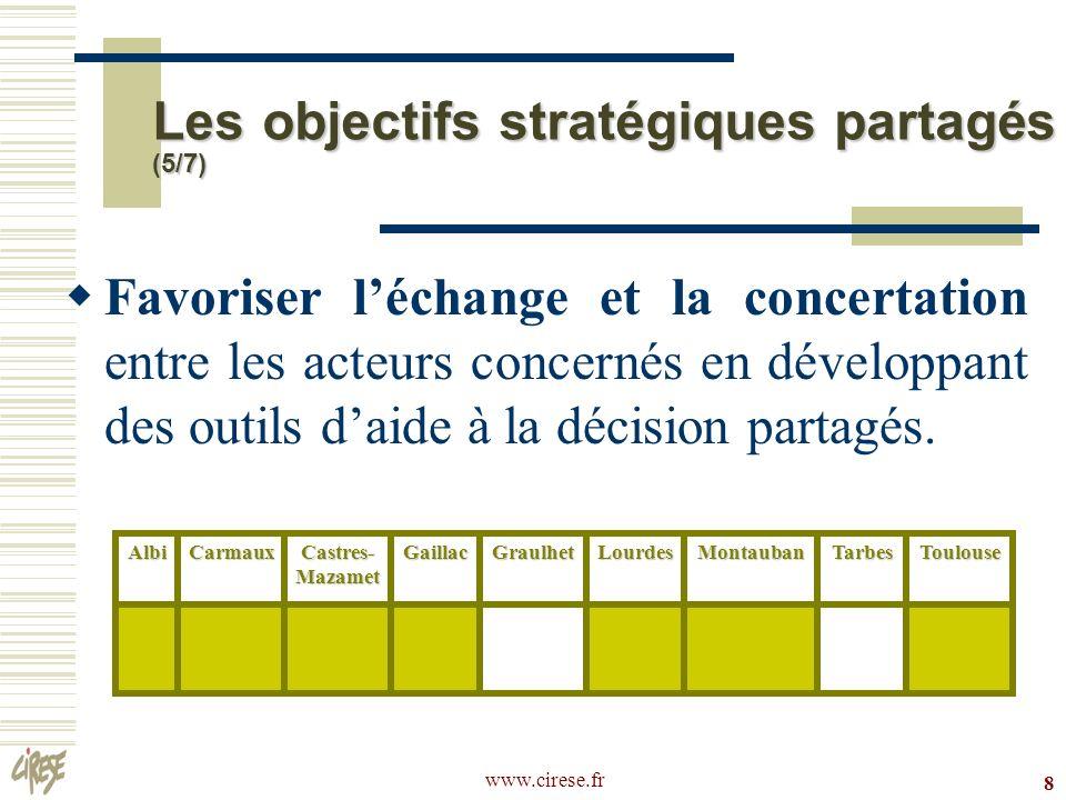 www.cirese.fr 9 Améliorer le climat social dans les quartiers en y développant des liens sociaux et un dynamisme associatif.AlbiCarmaux Castres- Mazamet GaillacGraulhetLourdesMontaubanTarbesToulouse Les objectifs stratégiques partagés (6/7)